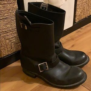 Black leather FRYE Harness Boots Size 9 M
